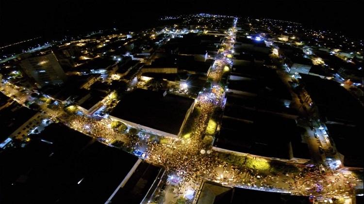 Foto aérea do Carnaval de Caicó - foto Naquib Libanio