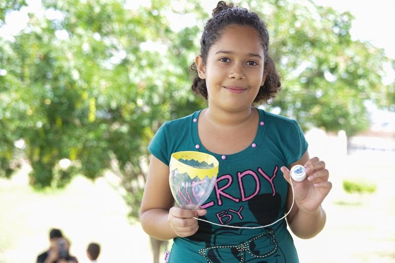 Estudante Francine Dantas, de 10 anos, participou das oficinas promovidas pela Facisa
