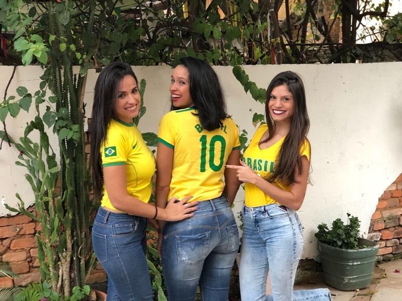 As Sugar Babies Fabiana, Aline e Emily já estão em clima de torcida